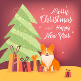 Dog and gifts near the Christmas tree Banner design template with congratulations Happy Christmas and New Year.