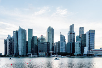 Beautiful Singapore skyline. View of downtown with skyscrapers