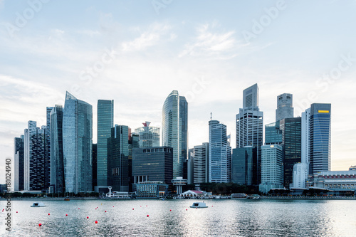Beautiful Singapore skyline. View of downtown with skyscrapers Poster