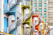 Colorful exterior spiral staircases, Singapore