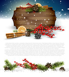 Christmas background with traditional decorations and wooden sig - 181027340
