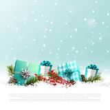 Gift boxes and traditional decorations  in the snow - 181027361