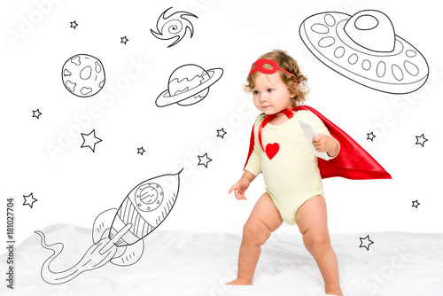 Foto op Canvas UFO toddler in superhero costume