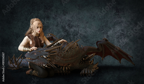 Beautiful blonde and fantasy dragon 3d illustration
