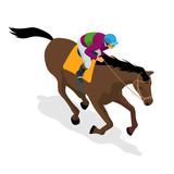 Isometric Jockey On Horse Champion Horse Riding Equestrian Sport Jockey Riding Jumping Horse Poster Sport   Illustration Wall Sticker