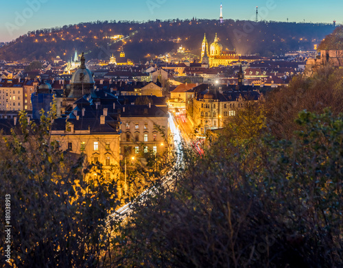 Staande foto Praag Evening view of Prague from the park on the hill - Czech Republic