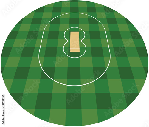 Papiers peints Vert Cricket field. vector illustration