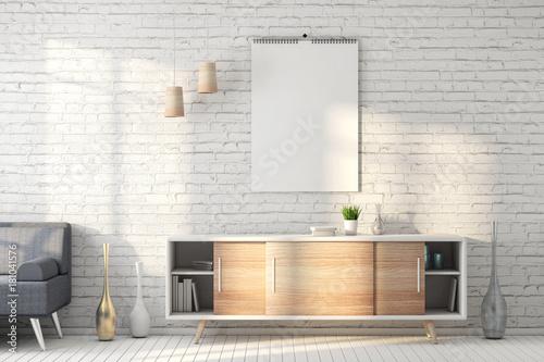 Calendar blank on the white brick wall, white room mockup 3d rendering - 181041576