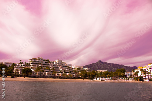 Plexiglas Lichtroze Puerto Banus. Beautiful sunset view. Marbella city, Andalusia, Costa del Sol, Spain.