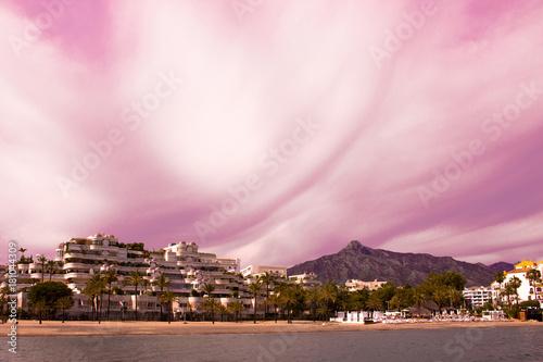 Papiers peints Rose clair / pale Puerto Banus. Beautiful sunset view. Marbella city, Andalusia, Costa del Sol, Spain.