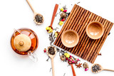Tea party set. Tea pot, cups, dried tea leaves, fllowers, spices on white background top view - 181048156