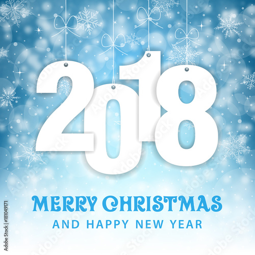 Christmas and New Year 2018 - Snowfall Vector Background