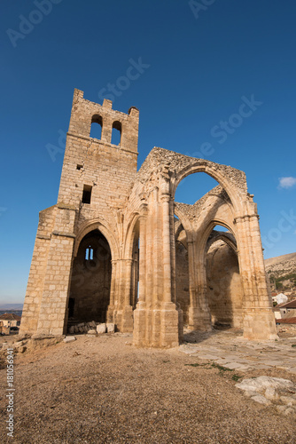 Ruins of abandoned church Santa Eulalia in Palenzuela, Palencia province, Spain.