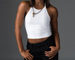 African American Woman in a White Tank Top