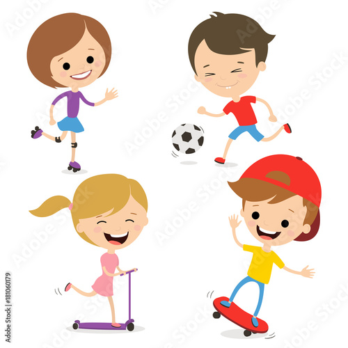 Fun kids play sports. Active way of life. White background. © sasha_astra