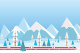 vector illustration of high speed train driving on background of snowy mountains