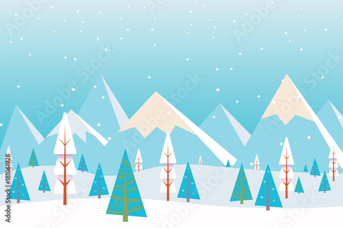In de dag Pool Christmas winter flat landscape background. Christmas forest woods with mountains. New Year vector greeting card