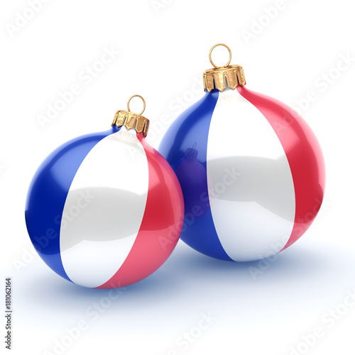 Foto Murales 3D rendering Christmas ball with the flag of France