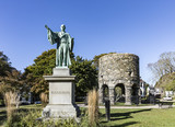 Newport Tower and Channing Statue, Tauro Park, Newport Rhode Island USA. Summer, 2016 - 181062913