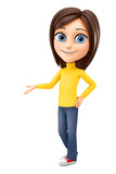 Cheerful girl makes a presentation on a white background. 3d rendering. Illustration for advertising. - 181063750