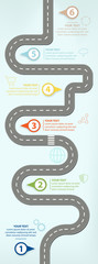Road Map, Flat Design Vector Illustration Infographic elements showing steps in business progress © mvcaspel