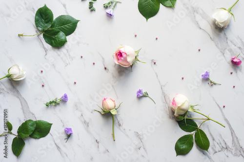 rosebuds on a marble background