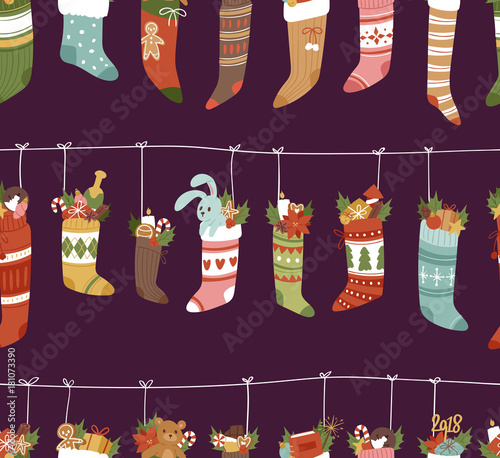 Cotton fabric Christmas socks vector Santa Xmas New Year gift traditional Christians symbol sey illustration different textile design food clothes seamless pattern background
