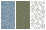 vector seamless patterns with flowers and leaves - 181077365