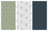 vector seamless patterns with leaves and foliage - 181077970
