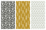 vector seamless patterns with leaves and foliage - 181078162