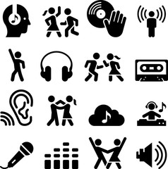 Dance Party Icons - Black Series - Illustration