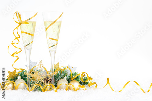 new year celebration with champagne glasses new year golden ribbon flutes with bubbling champagne