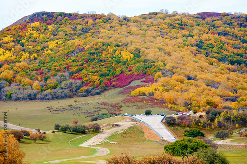 Poster Honing Ther autumn colorful mountains scenic