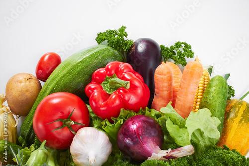Fototapeta fresh vegetables on the white background