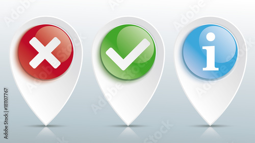 Fototapeta Yes No Info Tick Pointer Colored Glossy Buttons Header