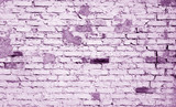 Old weathered brick wall pattern in violet tone - 181108982