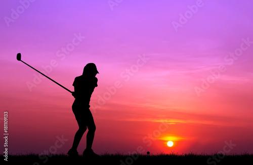 Leinwanddruck Bild silhouette golfer playing golf during beautiful sunset