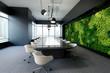 Vertical green wall in modern meeting room