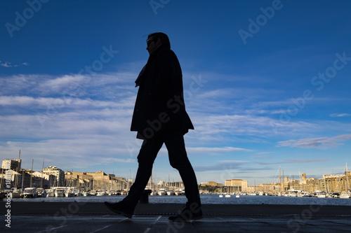 Plagát A silhouette in Vieux Port of Marseille
