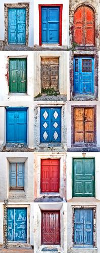 Foto op Canvas Santorini doors of santorini