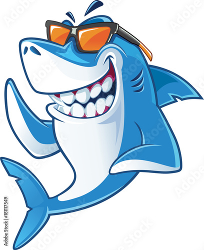 Fototapeta Smiling Shark Cartoon Mascot Character With Sunglasses