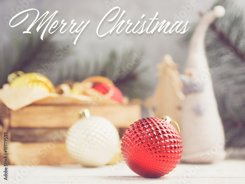 Merry christmas lettering on bright holiday background. Text space