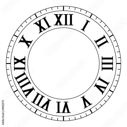 Clock face  Black blank clock with roman numerals | Buy Photos | AP