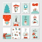 Hand drawn vector abstract fun Merry Christmas time cartoon cards collection set with cute illustrations,surprise gift boxes ,Xmas tree and modern calligraphy isolated on white background - 181120983