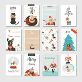 Hand drawn vector abstract fun Merry Christmas time cartoon cards collection set with cute illustrations,surprise gift boxes ,Xmas mammal dogs and modern calligraphy isolated on white background - 181121761