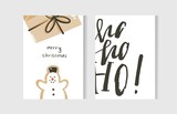 Hand drawn vector abstract fun Merry Christmas time cartoon cards collection set with cute illustrations,surprise gift box,snowman and handwritten modern calligraphy text isolated on white background - 181122309