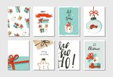 Hand drawn vector abstract fun Merry Christmas time cartoon cards collection set with cute illustrations,surprise gift boxes,dogs and handwritten modern calligraphy text isolated on white background - 181122338