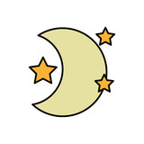 cute moon with stars in the night space