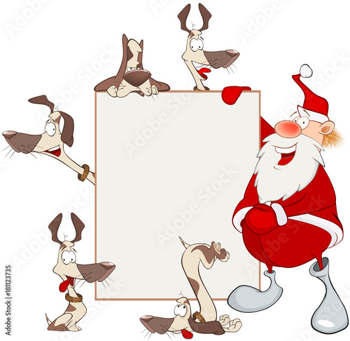 Papiers peints Chambre bébé Illustration of Cute Santa Claus Holding Blank Board and Dogs. Cartoon Character