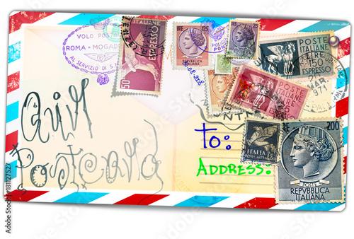 Staande foto Imagination Cartolina vintage di posta aerea con vecchi francobolli italiani